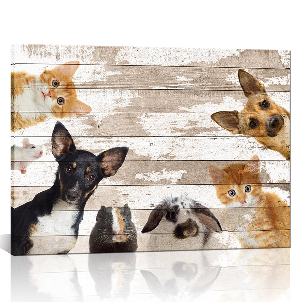 Kolo Wall Art Large Animals Wall Art Retro Dog Cat Rabbit Mouse Hamster Picture Painting Prints on Canvas Framed Wall Painting for Kids Room Home Decor Ready to Hang 24''x32''