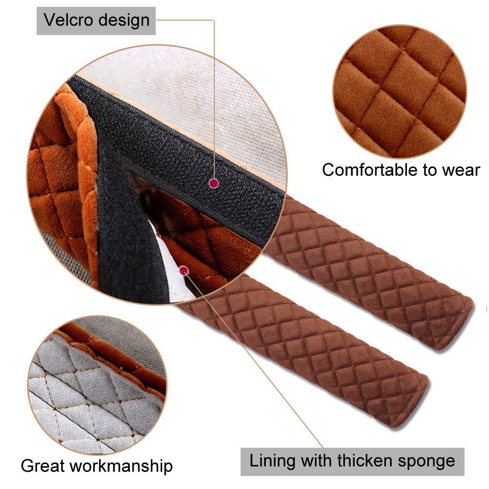 Seatbelt Strap Cover Car Seat Belt Comfort Pads Safety Shoulder Covers Set of 2 for Adults Children with 1 Car Dry Towel-Brown