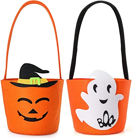 Light Up Jack O Lantern 2 PACK Halloween Candy Bucket Pail