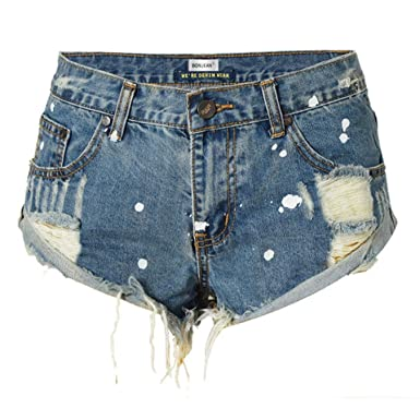 aad9ab1e5b BF Style Tassel Ripped High Waist Shorts Women Hole Denim Shorts Summer  Crimping Short Jeans