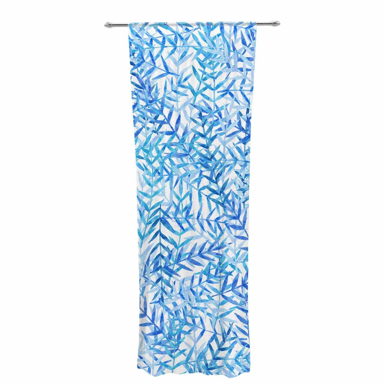 Kess InHouse Strawberringo Leaves Blue White Decorative Set 30 x 84 Sheer Curtains