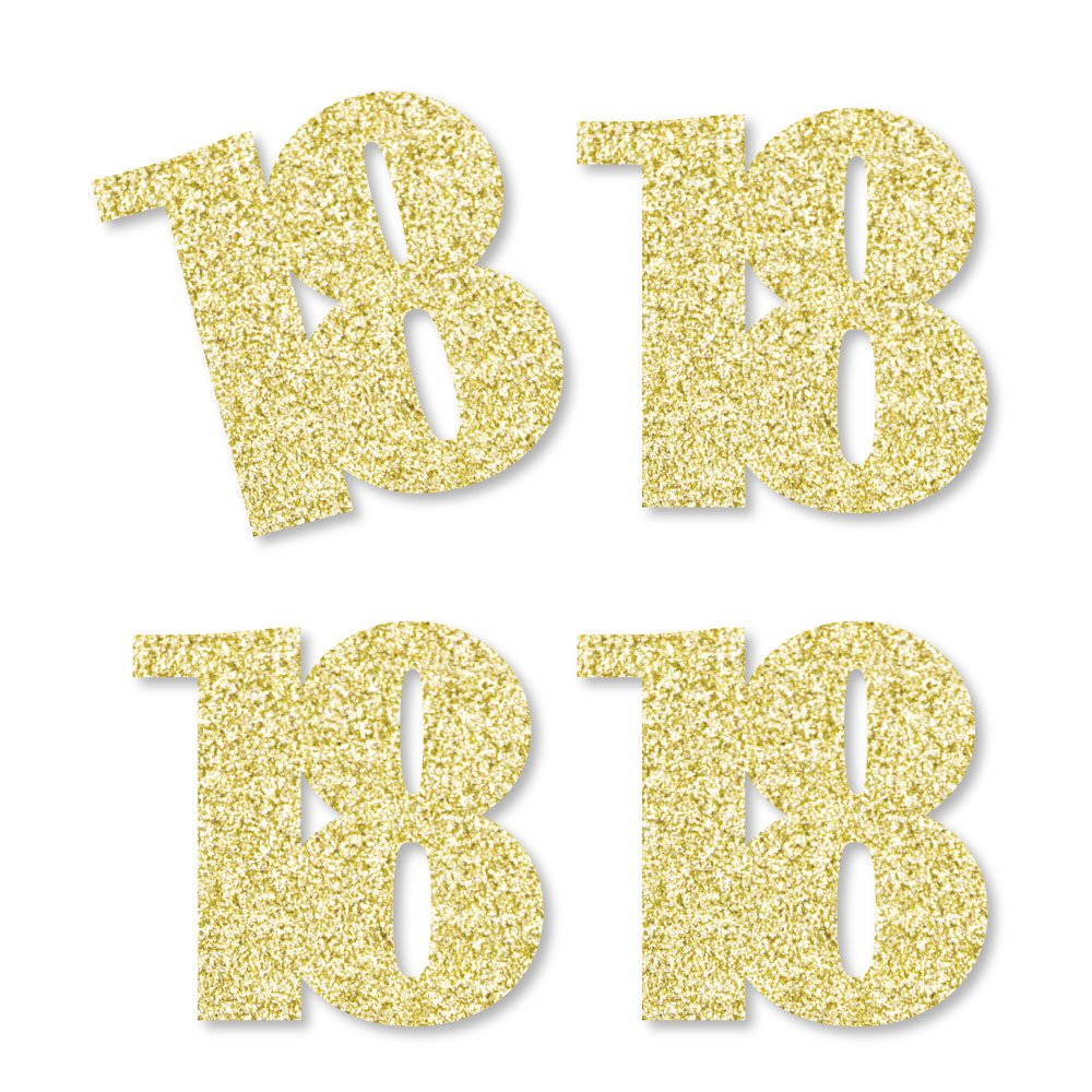 Gold Glitter 18 - No-Mess Real Gold Glitter Cut-Out Numbers - 18th Birthday Party Confetti - Set of 24