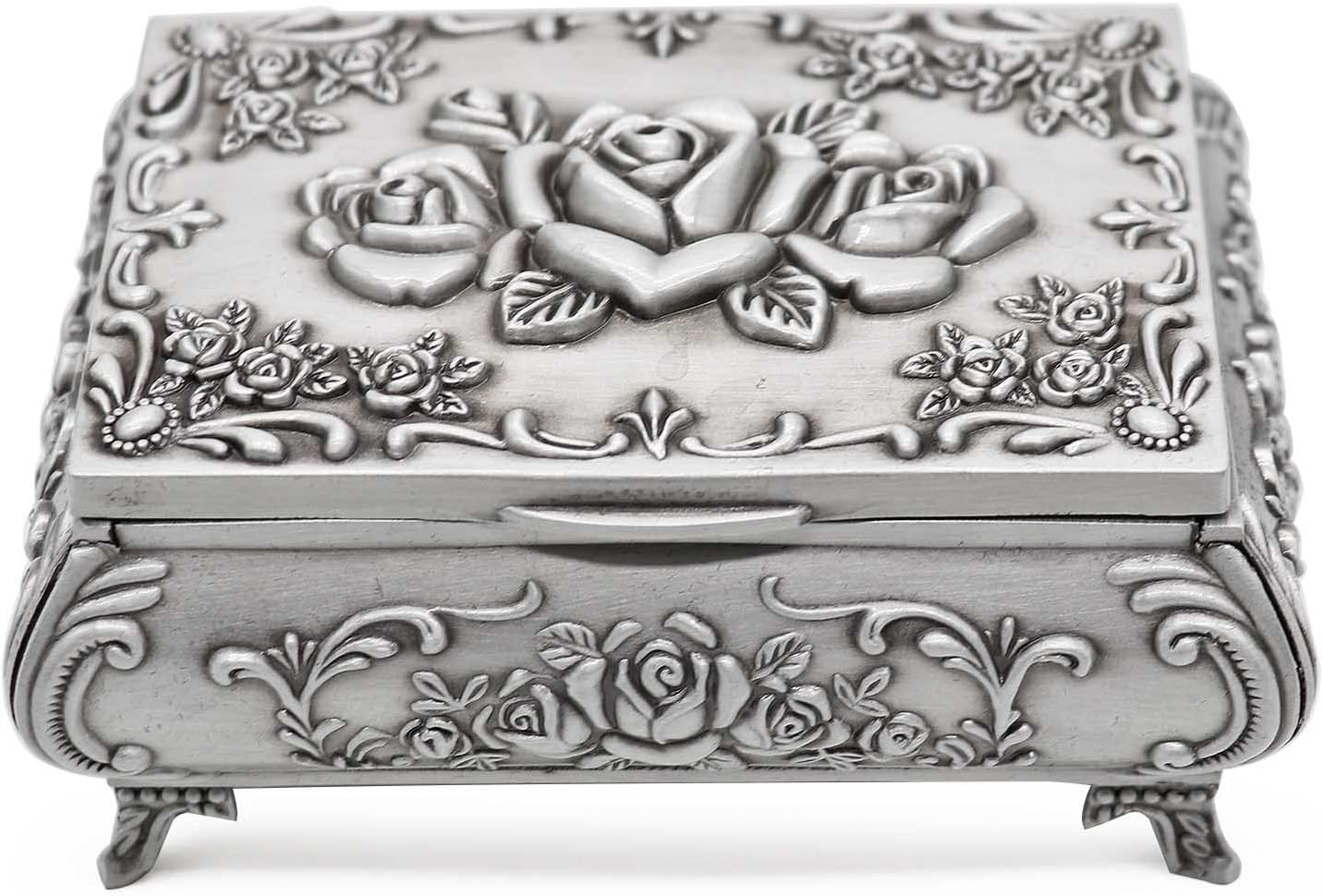 AVESON Rectangle Vintage Metal Jewelry Box Trinket Storage Organizer Gift Box Chest Ring Case with Rose Pattern for Girls Ladies Women, Medium