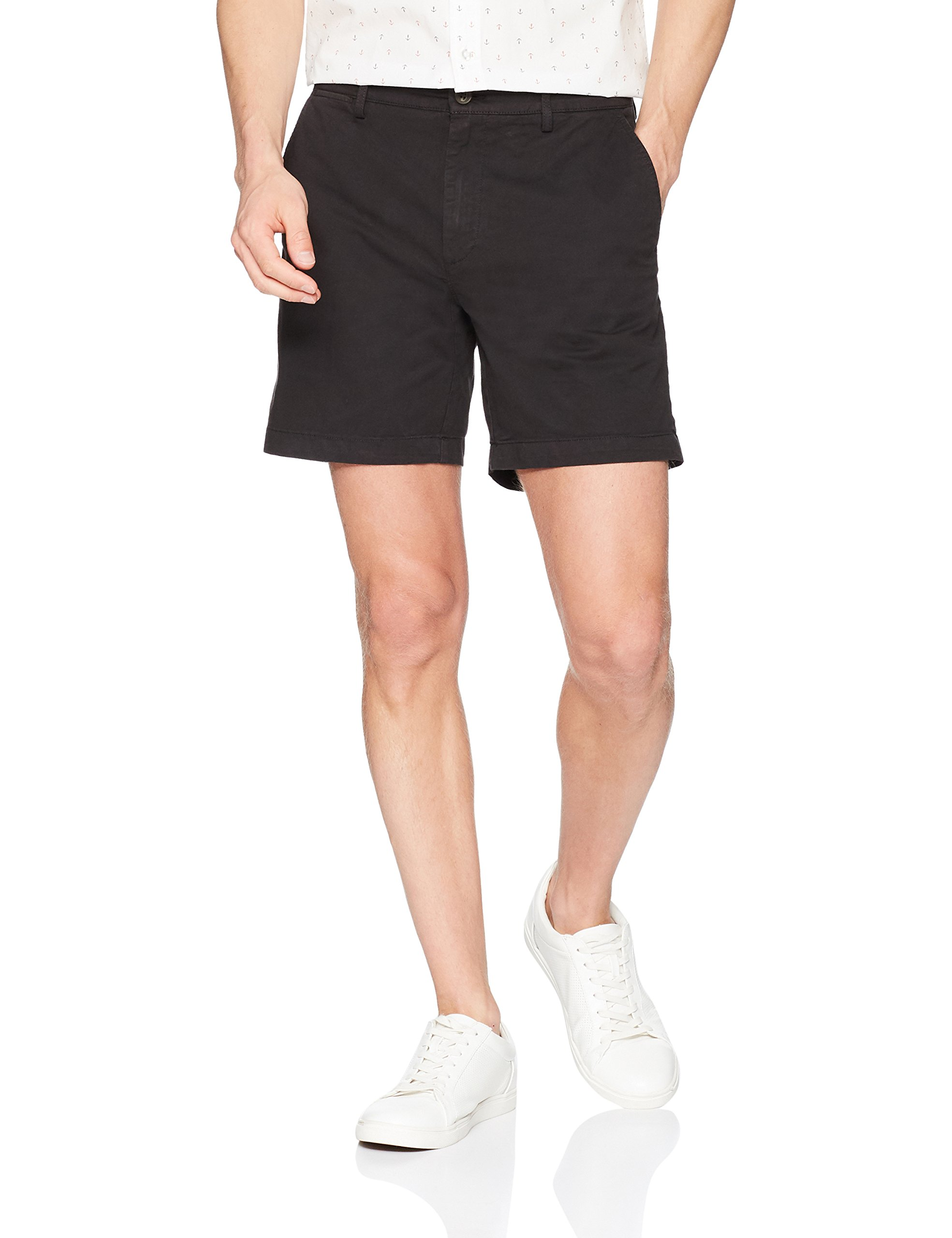 Goodthreads Men's 7'' Inseam Flat-Front Stretch Chino Short, Black, 34