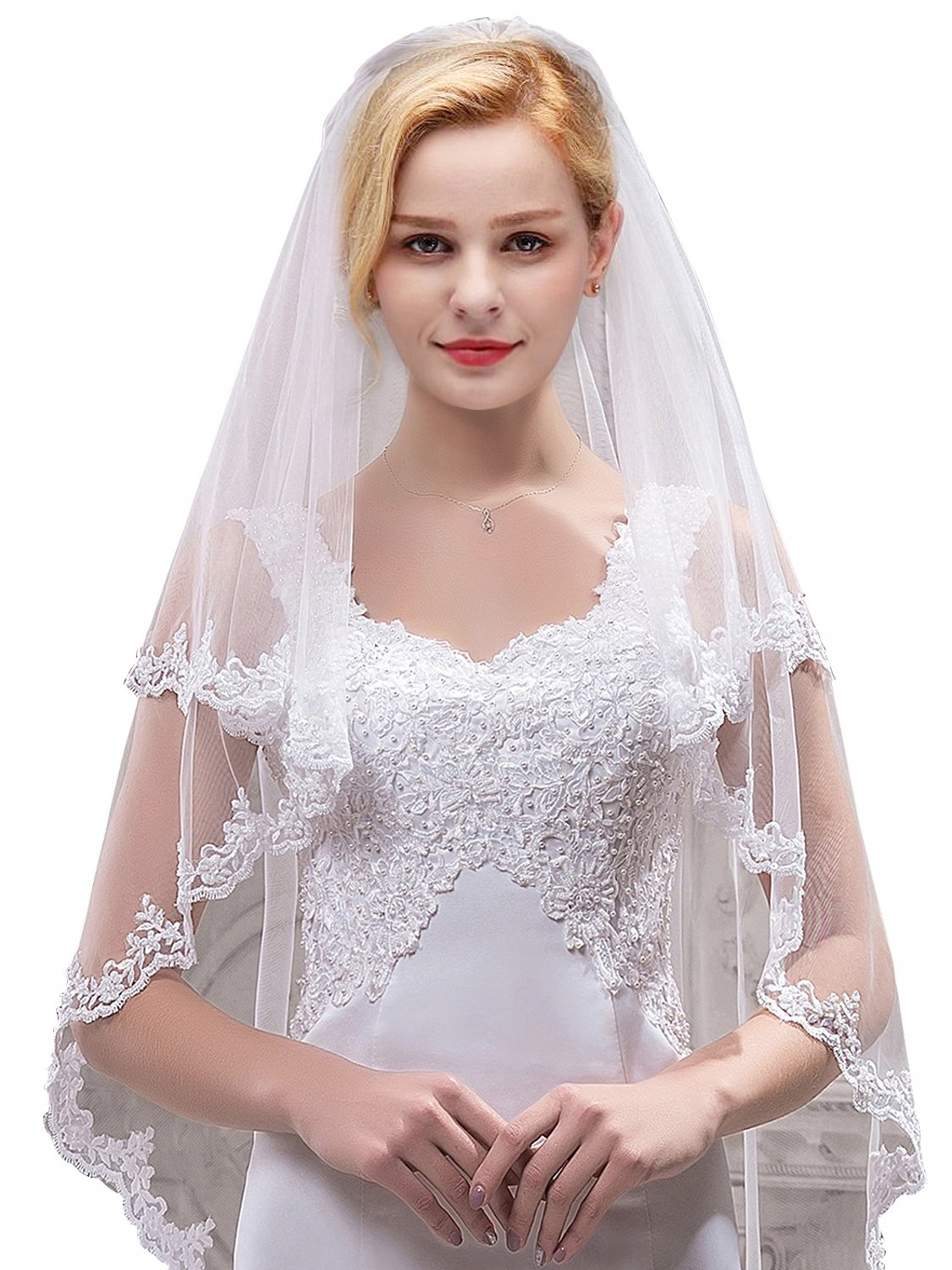 Women's Bridal Tulle Veils with Comb Lace Edge Wedding Veils for Bride,White by MisShow (Image #2)