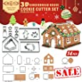 14 PCS - 3D Chocolate House Cookie Cutter Set (Stainless Steel) | Gingerbread House Cutouts Cutters Kit | Haunted House LFGB and FDA Approved, Colorful Box Packaging | Clearance Sales Items