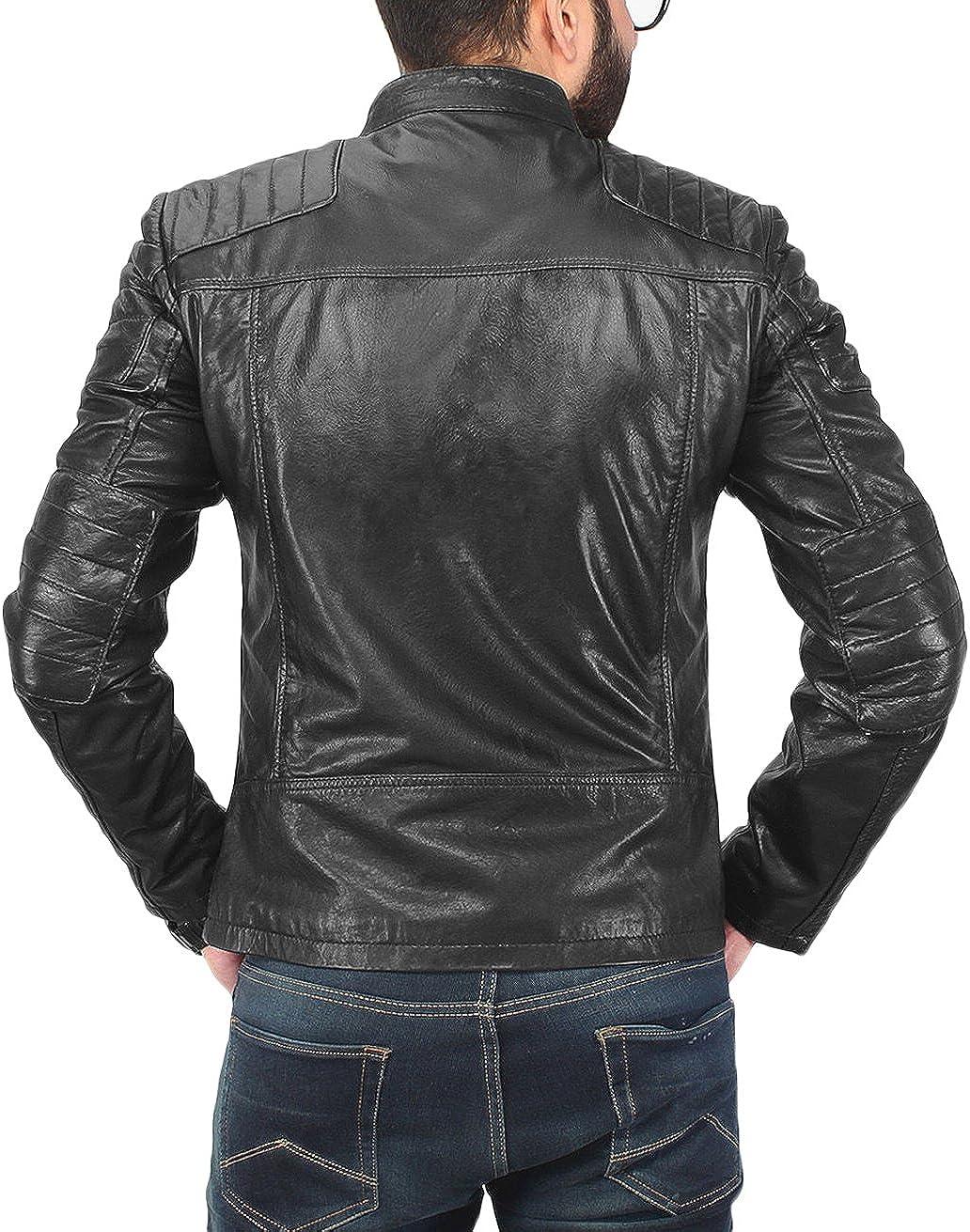 New Men Motorcycle Lambskin Leather Jacket Coat Size XS S M L XL LFM1526