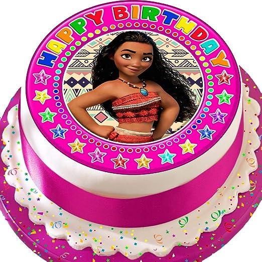 Moana rosa feliz cumpleaños troquelada comestible decoración ...