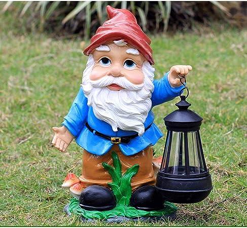 GLOOPE Estatua de jardín Luz Solar enana - Decoraciones de césped al Aire Libre Decoración de Arte Jardín Terraza (Color : B): Amazon.es: Hogar