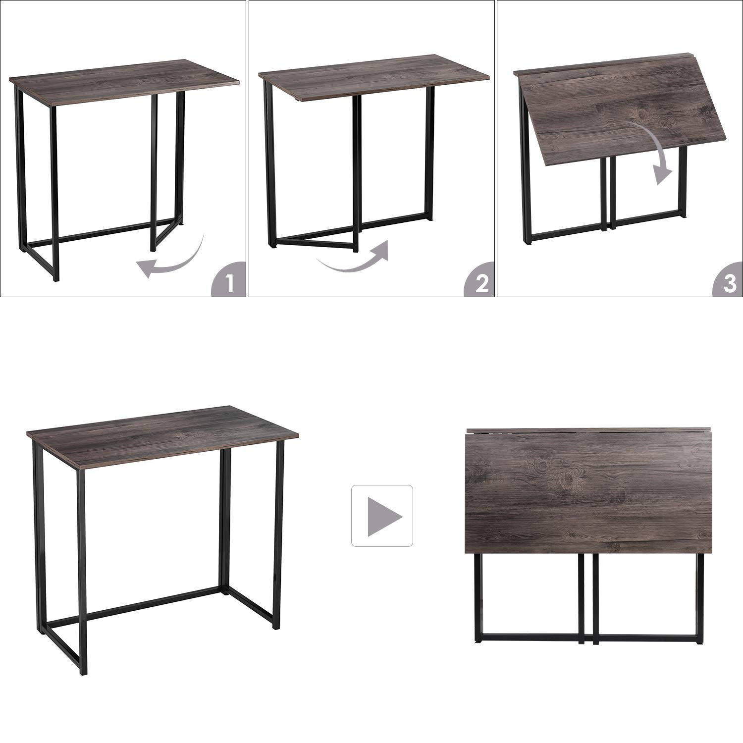 HOMFA Folding Laptop Table, Writing Computer Notebook Desk, Modern Simple Industrial Style TV Tray Bed/Sofa Side Study Table, Space Saving Furniture for Home Office by Homfa (Image #4)