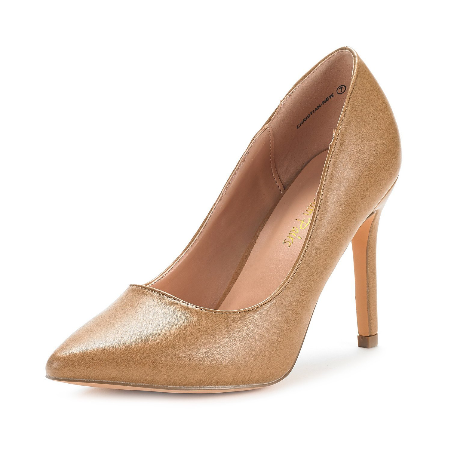 DREAM PAIRS Women's Christian-New Nude Pu High Heel Pump Shoes - 7 M US