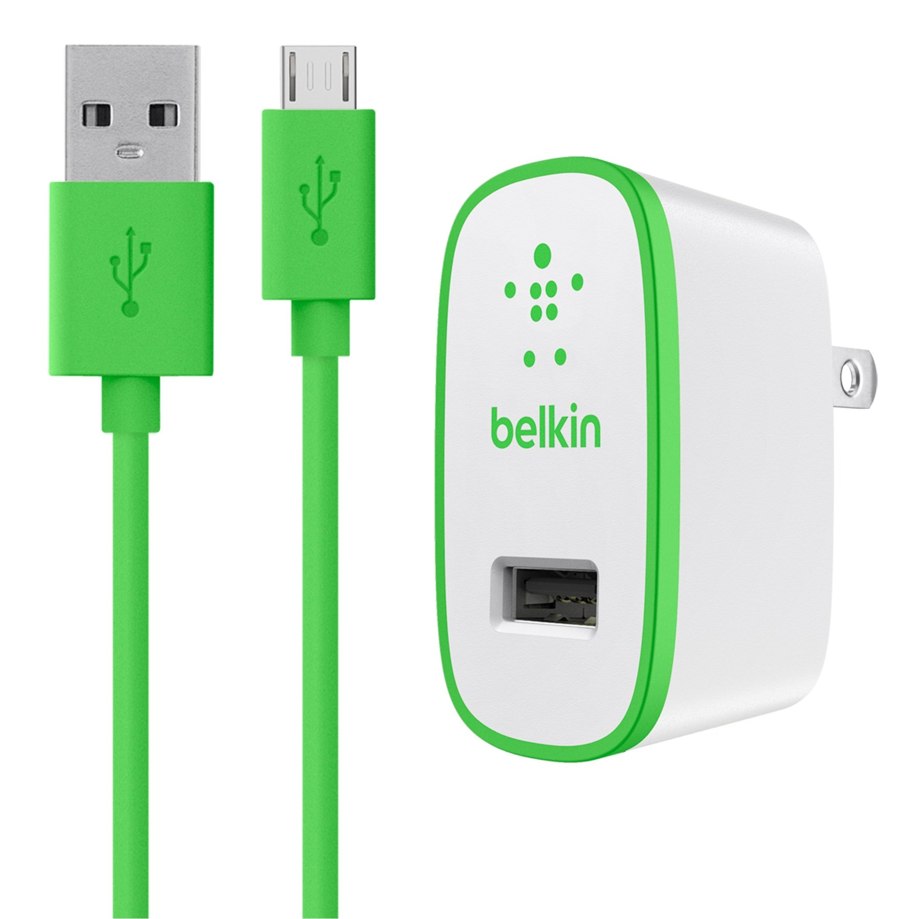 Belkin 4-Feet MIXIT Micro USB Home Charger and Cable Bundle, 2.1 AMP (Green), Compatible with Amazon Fire Phone