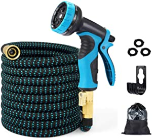 EASYHOSE 50ft Expandable Water Garden Hose,Expanding Flexible Hose with Strength Stretch Fabric with Brass Connectors - 9 Way Spray Nozzle +12 Months Warranty
