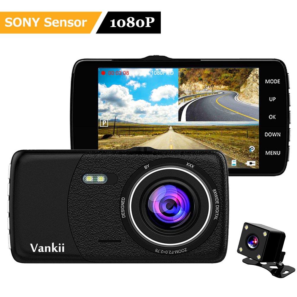 Vankii Full HD 1080P Dashcam Autokamera Video Recorder mit 170° Weitwinkelobjektiv, 4' LCD-Bildschirm, Bewegungserkennung, WDR, Parkmonitor, Loop-Aufnahme, Nachtsicht und G-Sensor (Vorder und Rückkamera) 4 LCD-Bildschirm V-DC001