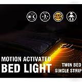 Motion Activated Bed Light Emotionlite LED Motion Sensor Bedside Light Strip Bias Lighting Bedroom Light with Automatic Off Warm White 1600K(Under Bed Cabinet Dark Corner) (Single Strip / Twin Bed)