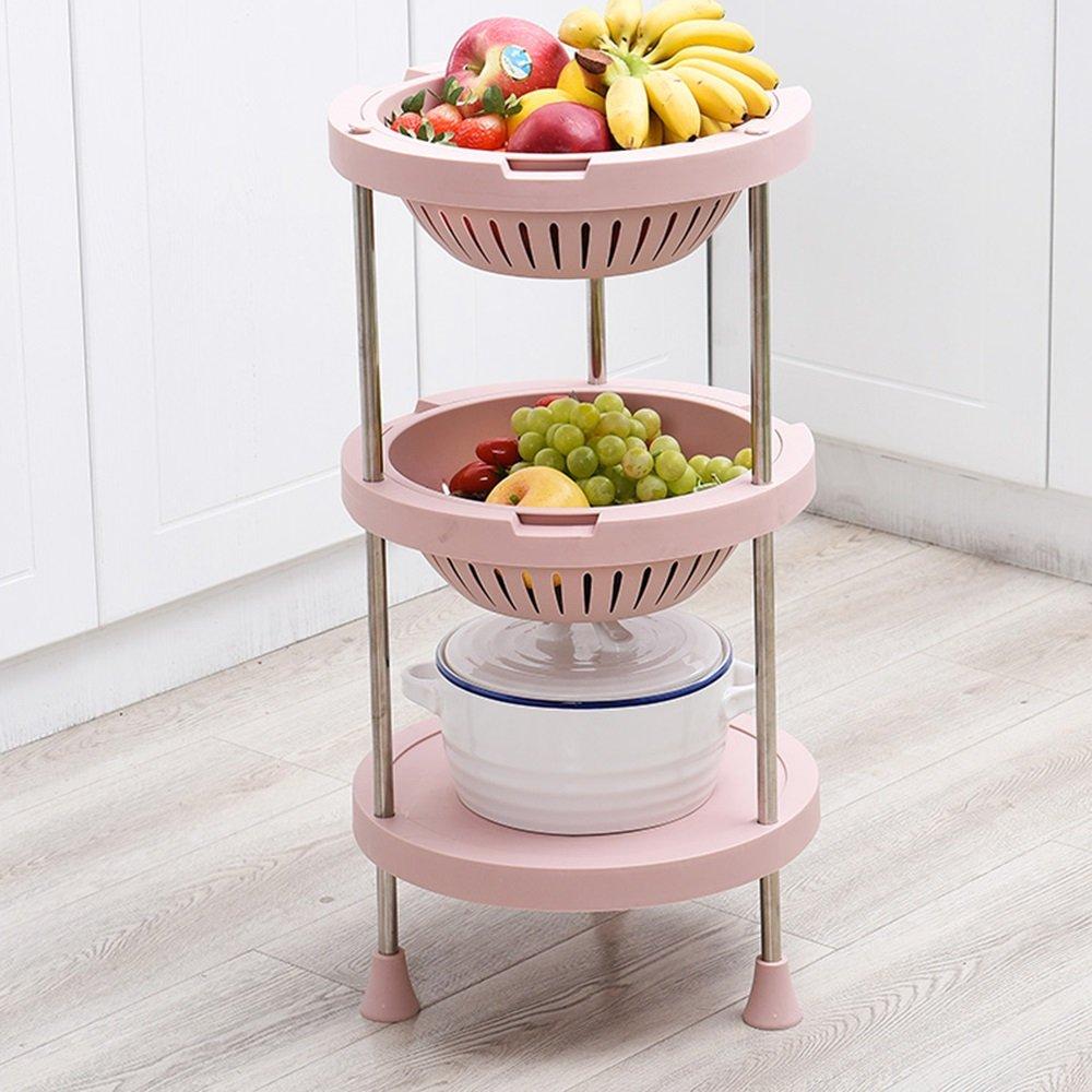 HPLL Storage Racks Floor Type Kitchen Multi-layer Vegetable Storage Basket 3-layer 4-layer Storage Rack (Color : Nordic pink, Size : 88.533.5cm)