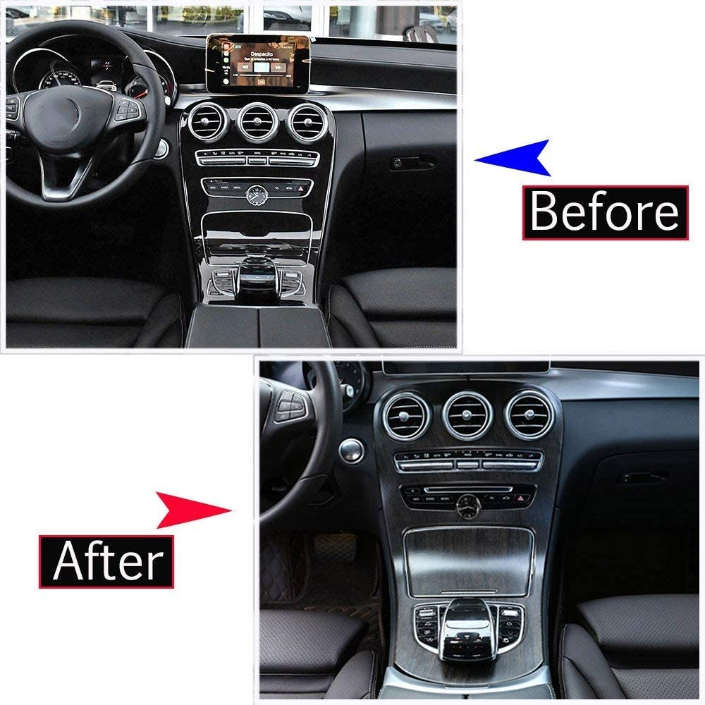 YIWANG Oak Wood Grain Style ABS Plastic Center Console Panel Decoration Cover for Mercedes Benz C Class W205 GLC-Class X253 2015-2018 Without Clock