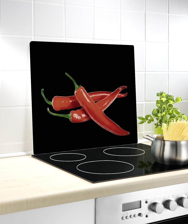 Compra WENKO Cubierta de vidrio para cocina Peperoni, para cocinas de vidriocerámica, Vidrio endurecido, 56 x 50 x 0.5 cm, Multicolor en Amazon.es