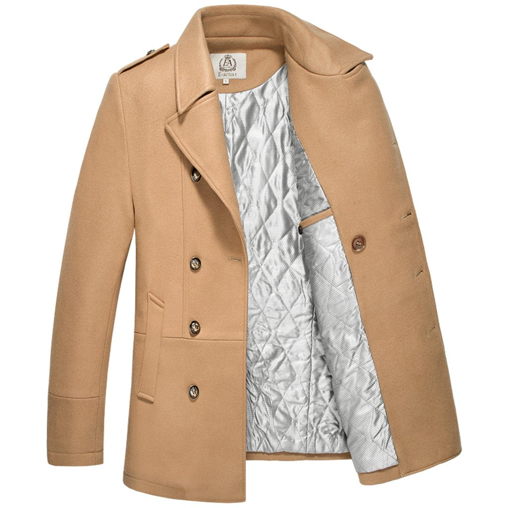 E-artist Men's Wool Pea Coats Double Breasted Overcoat N31 Camel X-Large by E-artist (Image #4)