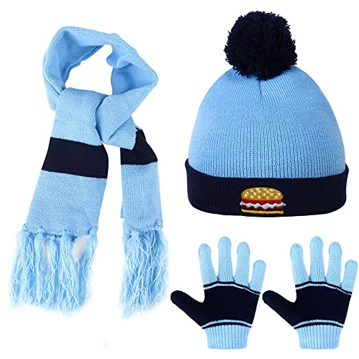 544682e0197c4 Amazon.com  Vbiger Knitted Hat Scarf And Gloves Set For Kids (Blue ...