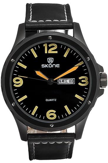 Skone para hombre lujo Cool deportes militares negro piel barato cuarzo Relojes