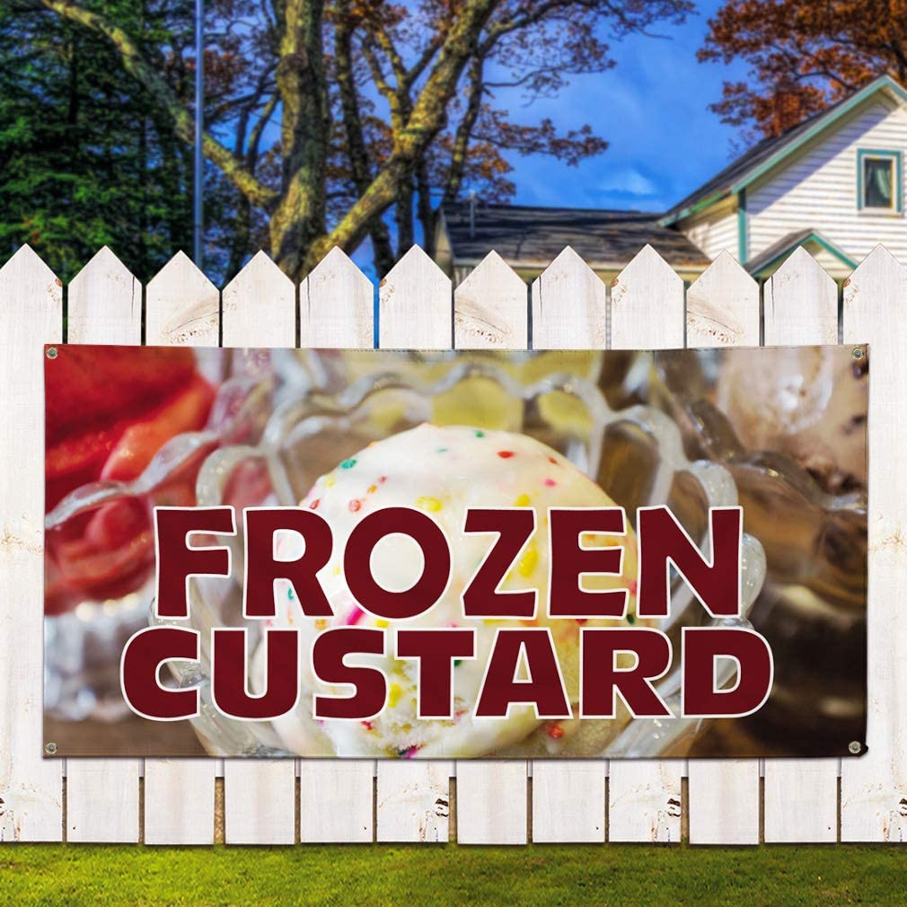 48inx96in 8 Grommets Vinyl Banner Sign Frozen Custard #1 Style B Outdoor Marketing Advertising Yellow Multiple Sizes Available One Banner