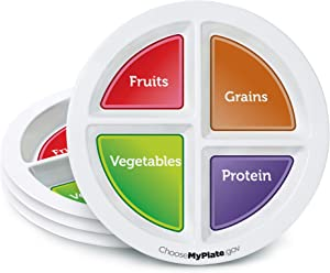 MyPlate Materials Set of 4 Portion Plates for Adults & Teens - No-BPA Melamine Food Divider, Divided Compartments for Meals - Supports Healthy Weight Loss & Diet Control - Dishwasher-Safe Meal Dish