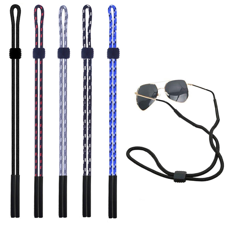 euhuton 5 pezzi sport Eyeglass Cord LanYard Holder multicolore regolabile sicuro da collo occhiali da sole fermo con leva regolabile