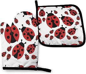 Oven Mitt and Pot Holders, 2 Piece Set, Cartoon Red Ladybug Cotton Lining Non-Slip BBQ Gloves