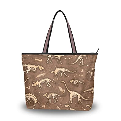 ALAZA Dinosaurs Fossils Tote Top Handle Shoulder Bags Large Handbags for  Women Ladies M 132805e3960f5