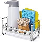 HULISEN Kitchen Soap Dispenser Caddy, 304 Stainless Steel Sponge Holder, Kitchen Sink Organizer, Sink Caddy, Countertop Dish
