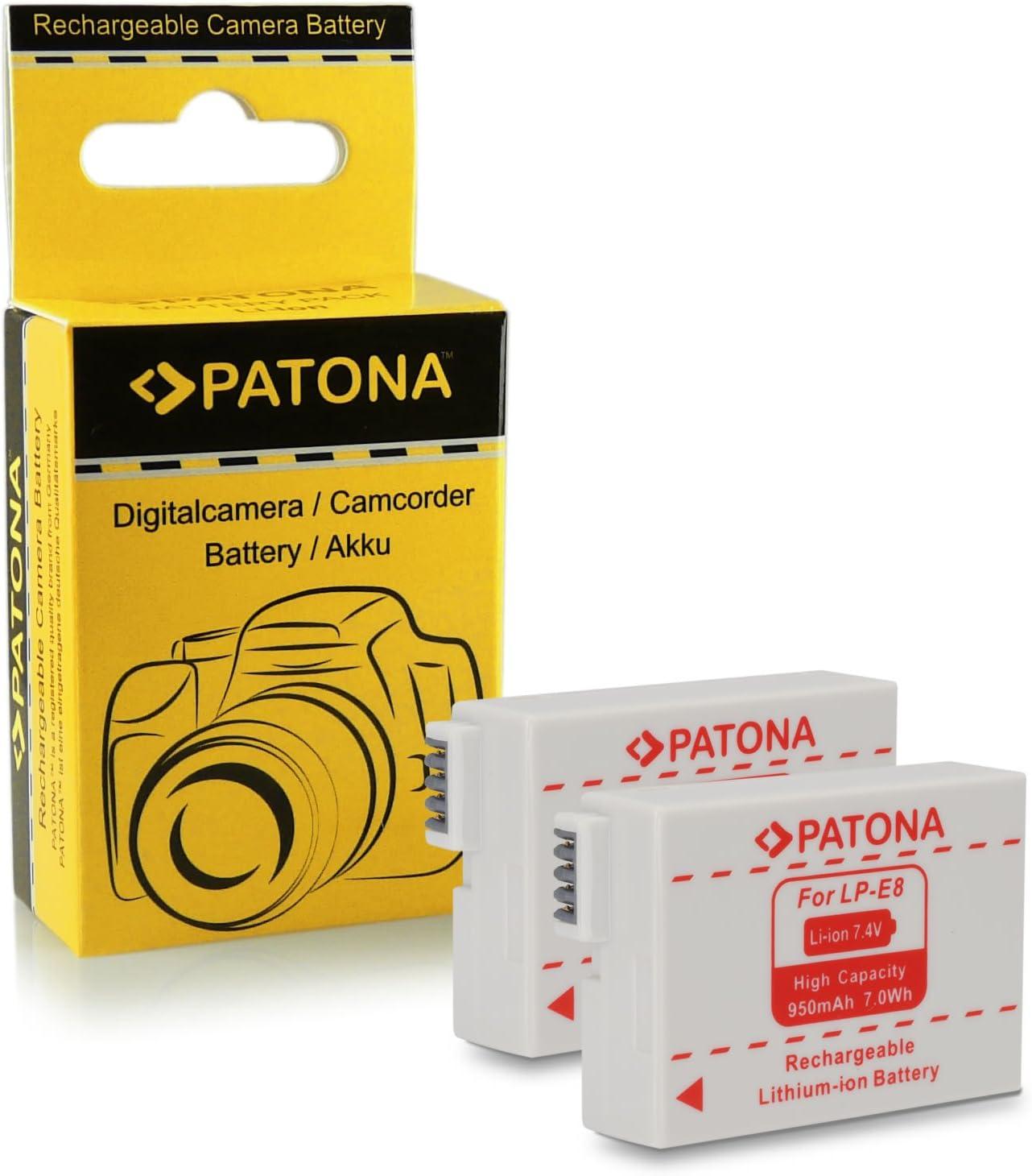 PATONA 2X Bateria reemplazo para Canon LP-E8 Compatible con Canon EOS 550D, 600D, 650D, 700D, Rebel T2i, T3i, T4i, T5i: Amazon.es: Electrónica
