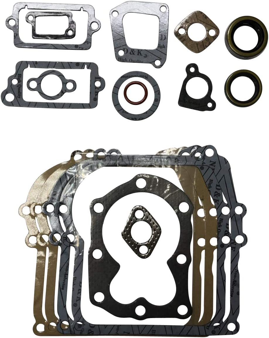 ENGINERUN 699933 Lawnmower Engine Gasket Kit – Crankcase Cylinder Muffler Exhaust Head Gasket Set Compatible with Briggs and Stratton 3 and 3.5 HP Vertical Engines OEM 298989 699933 794209