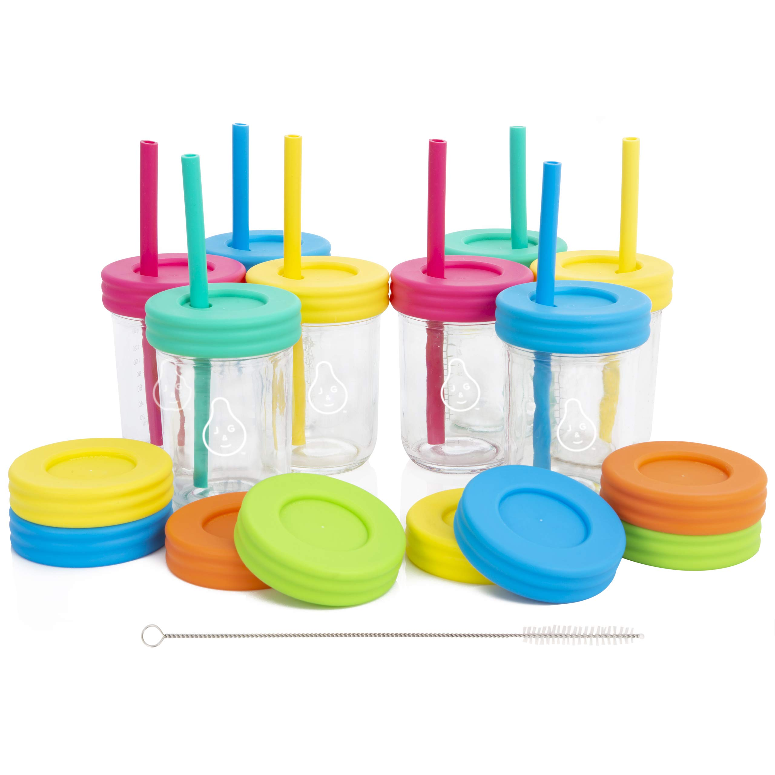 Kids 8oz Glass Mason Jar Drinking Cups with Straw Lids + Leak Proof Regular Lids + Silicone Straws + Cleaning Brush - Spill Proof, Sippy Cups for Toddlers, Kids Drinking Glasses, Food Storage-8 Pack by Jervis & George