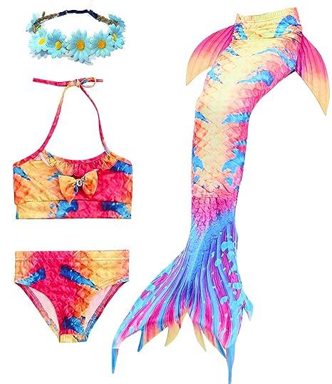 a99c7ffcfe Jeferym 4PCs Girls Mermaid Swimsuits for Swimming Bikini Set for Toddler  Teen Girls Can add Monofin