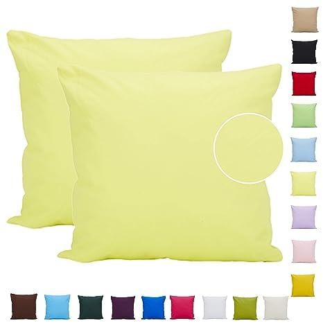 Comoco Funda de cojín para sofá, 2 unidades, algodón, color sólido, ligera, disponible en 15 colores y 7 tamaños, Amarillo, 70x70cm