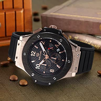 Amazon.com: MEGIR Mens Wrist Watch,Analog Quartz Sports Military Silicone Watches with Big Dial,Waterproof Fashion Casual Chronograph Wristwatch for ...