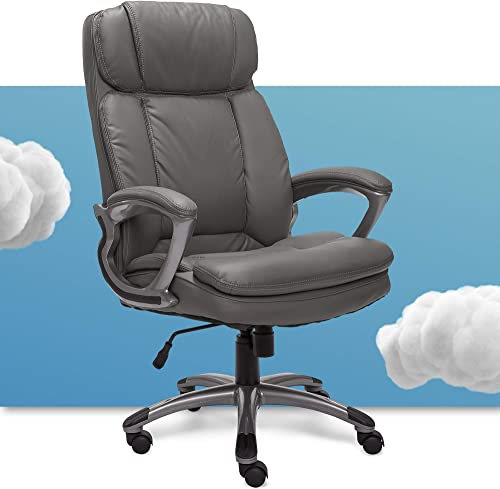 Serta Faux Big Tall Executive Office Chair High Back All Day Comfort Ergonomic Lumbar Support