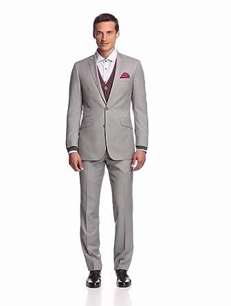 Ben Sherman Men's Suit, Light Gray, 36 Regular
