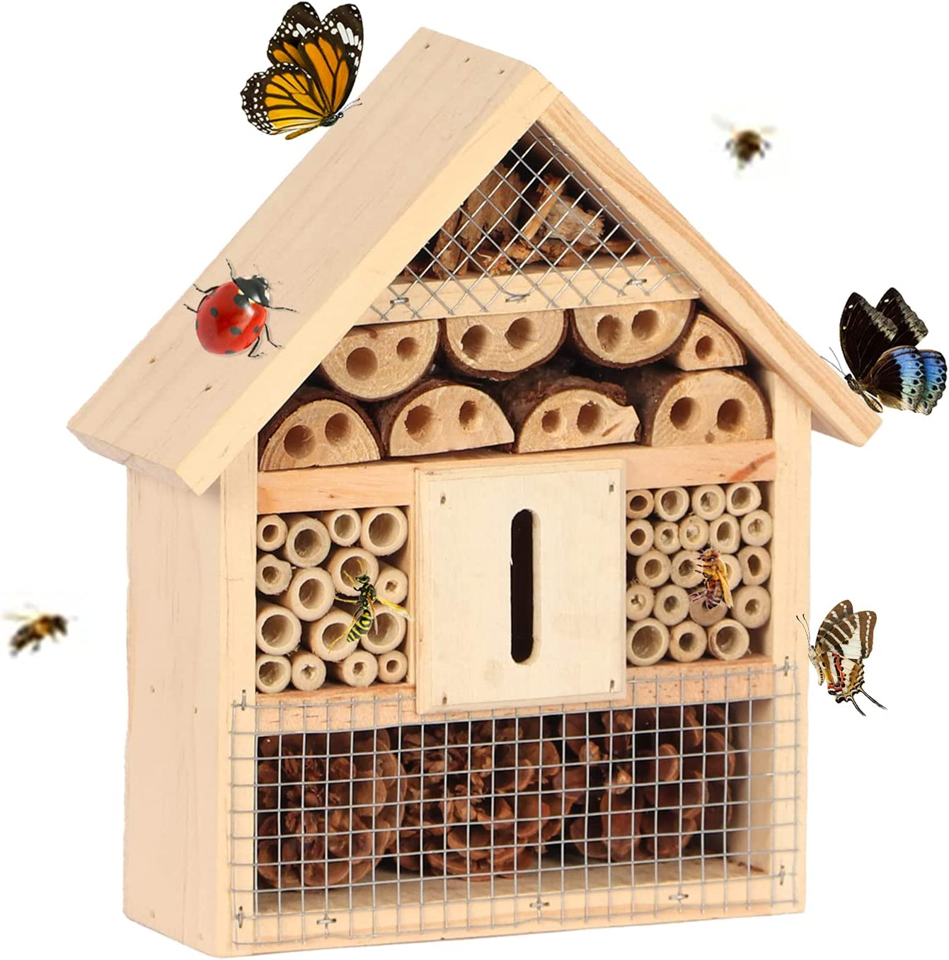 B&P Bee House, Wooden Backyard Hanging Bamboo Tube Insect House Garden Bug Hotel, Perfect Shelter for Bees,Butterflies and Ladybugs