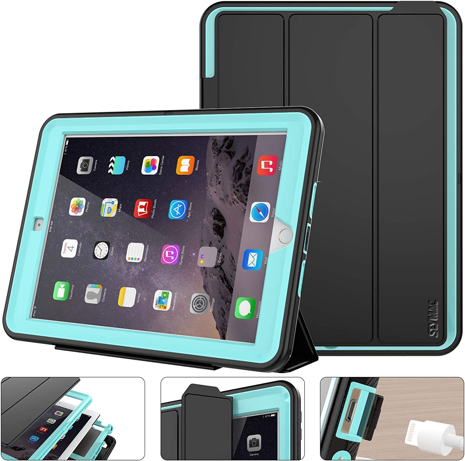 SEYMAC stock Case for iPad 5th/6th Generation 9.7 inch, Heavy Duty Shock-Proof Smart Cover Auto Sleep Wake with Leather Stand Feature for iPad 2017/2018 Released (Black/Sky Blue)
