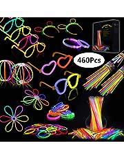 IREGRO 200 pcs Bâtons Lumineux et 260 pcs Accessoires, 20cm Multicolore Bracelets Fluorescents avec Des Connecteurs pour Faire des Colliers et Des Bracelets