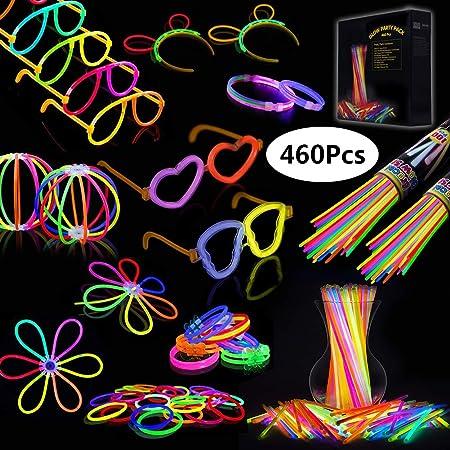 IREGRO Pulseras Luminosas 460 pcs de Fiesta 20cm Colores con Conectores para Hacer Glow Sticks Pulseras, Collares, Kits para Crear Gafas Fiestas (460 pcs): Amazon.es: Hogar