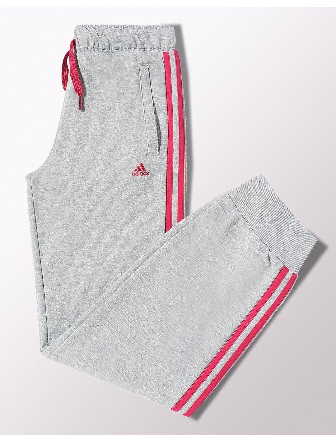 adidas Junior Girls Pants Tracksuit Bottoms 100% Cotton Jog Joggers Grey Pink