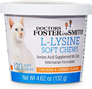 DRS. Foster and Smith L-Lysine Soft Chews for Cats, Count of 120