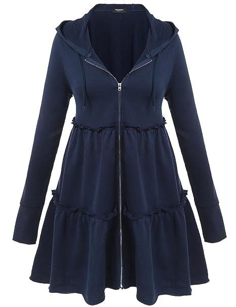 Zeagoo Women\'s Plus Size Hooded Sweatshirt Jacket Cape Style Loose Dress  Coat