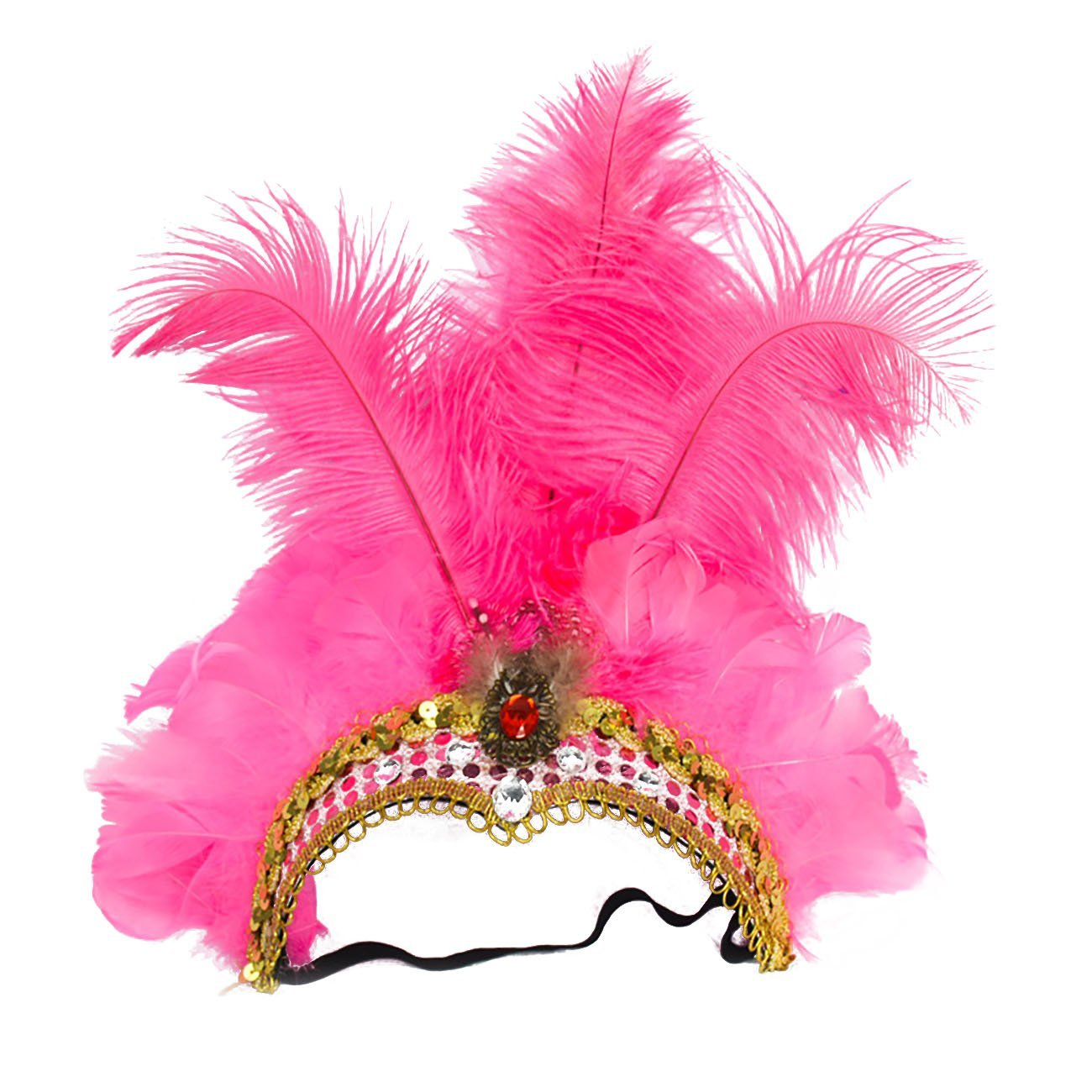 ShiyiUP Masquerade Ball Headwear Belly Dance Feathered Headgear WJPDZS1027pk