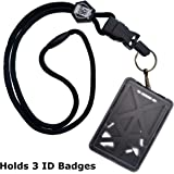 Top Loading THREE ID Card Badge Holder with Heavy Duty Lanyard w/ Detachable Metal Clip and Key Ring by Specialist ID Sold Individually (One Holder / 3 Cards Inside) (Black)