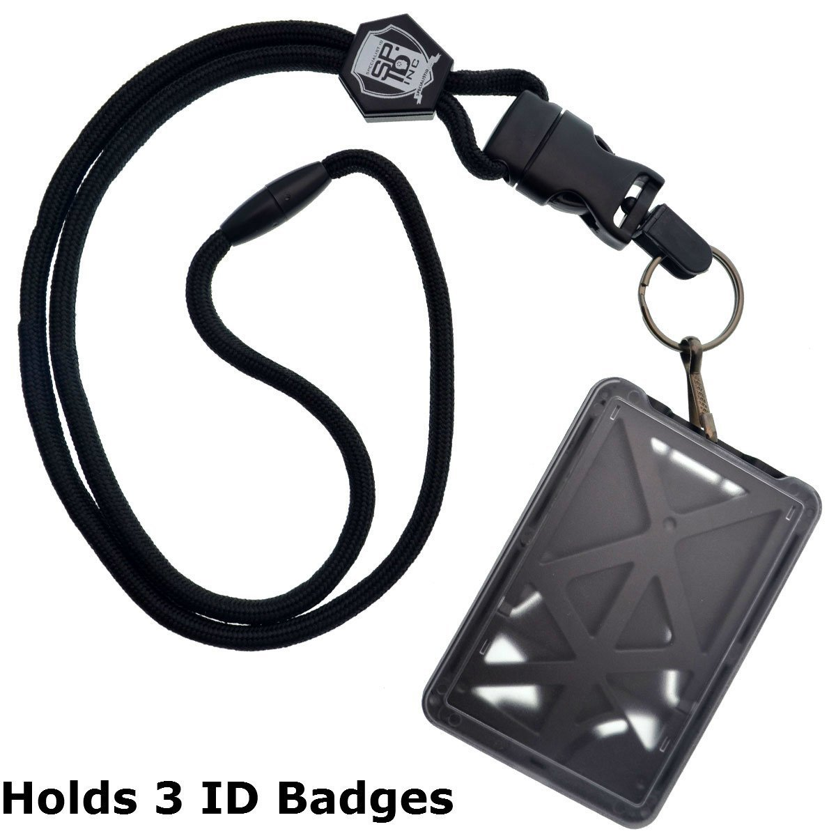 Top Loading THREE ID Card Badge Holder with Heavy Duty Lanyard w/Detachable Metal Clip and Key Ring by Specialist ID, Sold Individually (One Holder / 3 Cards Inside) (Black) SPID-9070