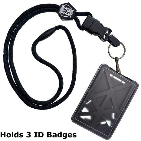 sale look out for discount Specialist ID Porte-badge à chargement par le haut pour 3 cartes d'identité  avec cordon robuste/clip métallique amovible/porte-clés noir